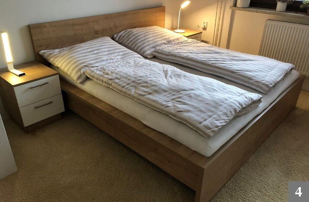 Dřevěná postel a noční stolky