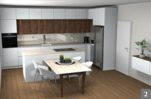Vizualizace moderní kuchyně s jídelnou od firmy Válek & Kačena