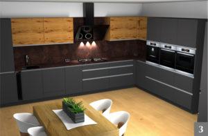 Vizualizace moderní tmavé kuchyně s designovou digestoří