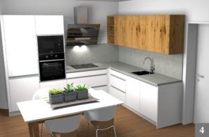 Návrh moderní světlé kuchyně s dřevěnými prvky