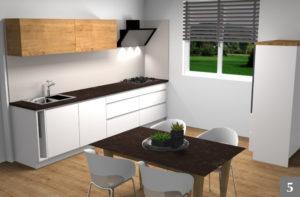 Vizualizace světlé kuchyně v rodinném domě