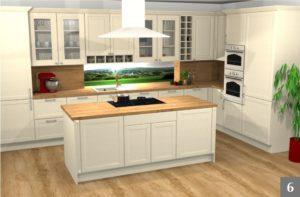 Vizualizace rustikální kuchyně v rodinném domě
