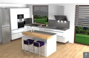 Vizualizace kuchyně s ostrůvkem v rodinném domě